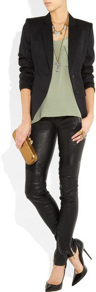 Balmain Skinny Leather Pants in Black - Lyst