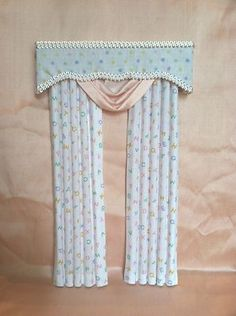 Dollhouse Miniature 1:12 scale Baby Pink and White Curtains