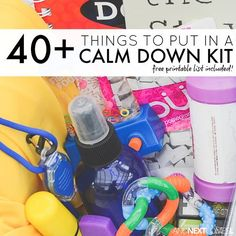40+ things to put in a calm down bin or calm down box for kids with free printable list from And Next Comes L
