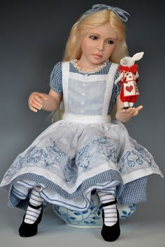 Alice in Wonderland:  #Alice and the #White #Rabbit, Diane Keeler One of a Kind Dolls At the Dollery.