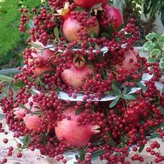 Not only is Pomegranates good for us, they can be used in many recipes,  Recipe link: http://www.pomwonderful.com/pomegranate-recipes/  Isn't this a beautiful display?  We are growing Pomegranate, (among other edible fruits) in our small home Orchard.  Grow Food not Lawns. Have some lovely winter berries growing for the birds, plus other edible greenery. This would be a lovely display on a table, if I were to ever have too many one season & wanted to have a creative way to store our bounty…
