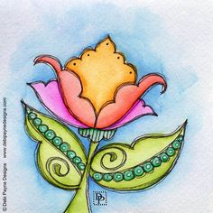It's another doodle flower Friday... Enjoy! . . . . . #doodleflower #doodleart #watercolor #tombow #yestombow #debipaynedesigns