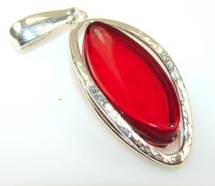 $59.85 New!! Red Polish Amber Sterling Silver Pendant at www.SilverRushStyle.com #pendant #handmade #jewelry #silver #amber