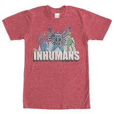 Inhumans Groupshot - The first family of the amazing Inhuman race is featured on the Marvel Inhumans Royal Characters Heather Red T-Shirt. King Black Bolt, Queen Med, Karnak, and the Inhumans logo are in a slightly distressed vintage style on the front of this classic I