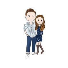 Couple Custom Illustration In Chibi/ Cartoon Drawing Style (Digital) - by LenniarIllustration