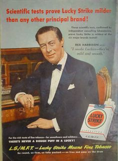 1950 Ad Lucky Strike Cigarettes Rex Harrison Scientific tests prove Lucky Strike milder than any other principal brand