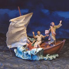 Christ Calming the Sea of Galilee Figurine Set- by Fontanini. Available at AllSculptures.com Nativity Scene Sets, Egypt, Christmas Crafts, Religion, Calming, Painting, Ebay, Art, Nativity Sets