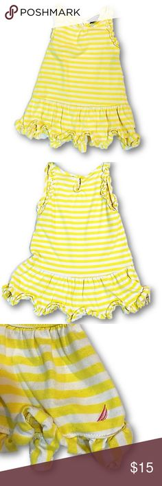 Yellow and white striped sundress by Nautica 18 mo Sundress by Nautica in yellow and white strips. Ruffle accents on hem and arm openings.   Details:  * size 18 mo * 60% Cotton/40% Polyester *EUC  Cute and practical sundress by Nautica in yellow and white stripes. Nautica Dresses Casual