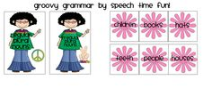 Speech Time Fun: Groovy Grammar: sorting cards for regular and irregular plural nouns!
