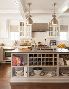 Ruth Richards Interiors - kitchens - light taupe kitchen island, kitchen island with open shelving, kitchen island shelves, kitchen island w. Taupe Kitchen, Rustic Kitchen, New Kitchen, Kitchen Decor, Kitchen Ideas, Colonial Kitchen, Kitchen Island Storage, Kitchen Island With Seating, Kitchen Shelves