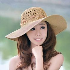 Floppy sun hats with large bow for women wide brim straw hat package