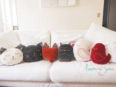 Un peu de couture en mode féline ! Je me suis inspirée des jolies créations de la boutique Laura Jane Paris pour faire à ma sauce un coussin tête de chat, sans patron ni gabarit ! Bienvenue dans l'univers tendre et poétique de Laura Jane! Les coussins...