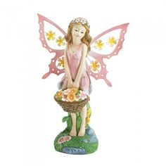 Summerfield Terrace 10017858 Pink Fairy Solar Garden Statue