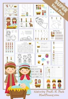 FREE --Nativity Preschool Printable Activity Pack - Over 30 activities for ages 2 and up.