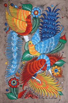 MEXICAN PAINTING OF BIRDS & FLOWERS LATIN FOLK ART CRAFT HOME DECOR WALL HANGING