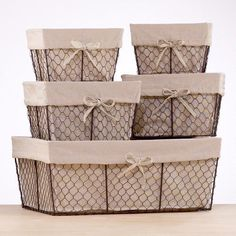 """Charlotte Lined Wire Baskets (Small $7.99; Medium $12.99; Large $24.99) Small: 9""""W x 7""""D x 6""""H; medium: 11""""W x 9""""D x 7""""H; large: 20""""W x 13""""D x 8""""H"""