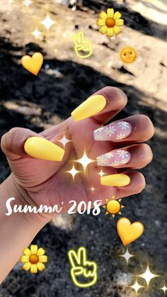 Whether you like long or short nails, acrylic or gel nails, french or coffin nails, matte or glitter nails, you can always find in here with yellow colors. Have a look at yellow nail designs we collected and choose the one that suits you the best. Gorgeous Nails, Love Nails, Pink Nails, Glitter Nails, Pretty Nails, My Nails, Purple Nail, White Nails, French Nails