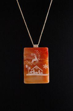 Christmas Fused Glass Reindeer Over Manger by SouthBeachGlassArt, $29.00