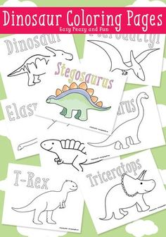 Check out this list of 21 Easy Dinosaur Activities For Kids that not only celebrate colossal creatures, but also entertain and educate children. There's everything from bingo, letter matching, and coloring, to all sorts of sensory activities and crafts. Dinosaur Coloring Pages, Coloring Pages For Kids, Kids Coloring, Adult Coloring, Coloring Books, Fall Coloring, Preschool Coloring Pages, Coloring Sheets, Dinosaur Birthday Party