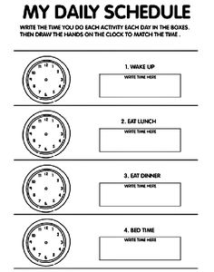Daily Schedule - Time coloring page