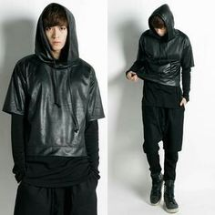 Faux leather short sleeve hoodie