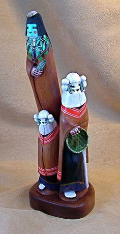 Blue Corn Maiden Kachina with Snow Maiden Kachinas Artist: Wilmer Kaye, Hopi