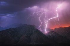 Thunder Mountain Michael Shainblum I have been wanting to get a shot like this for awhile now. I tend to get excited when I see lightning so I end up just pointing the camera in whatever direction the last strike was at. This time however I wanted to do a little more planning. I checked the direction the storm was moving and got the composition I wanted about 15 mins early in hopes that the storm would pass through the shot. Sure enough I got some lucky strikes that were ...