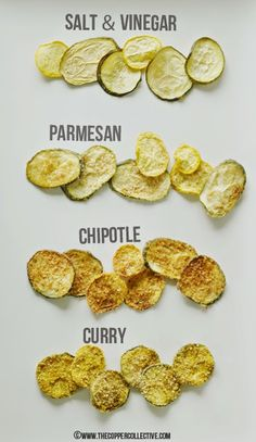Zucchini Chips Four Ways | All of these variations look yum! Never tried making zucchini chips but this has convinced me to give it a go ;)