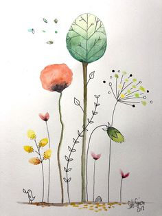 Watercolor Artists, Watercolor And Ink, Watercolour Painting, Watercolor Flowers, Painting & Drawing, Drawing Base, Tattoo Watercolor, Simple Watercolor, Watercolor Ideas
