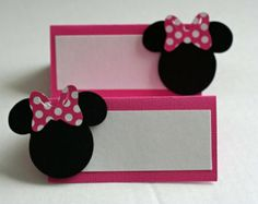 12 Rosa Minnie Mouse inspirado cartas de mesa Placecards de alimento, Minnie inspirado cumpleaños