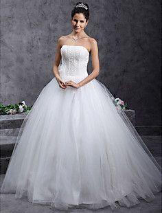 Ball Gown Strapless Beading Floor-length Tulle Wedding Dress – USD $ 141.99