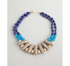 Danielle Stevens gold plate grey and blue acrylic stones necklace $28