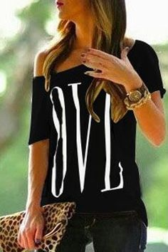 Sexy Skew Neck Letter Printed Asymmetric T-Shirt For WomenT-Shirts   RoseGal.com