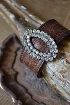 Leather Statement Cuff Vintage Rhinestone Shoe by BellaEllie