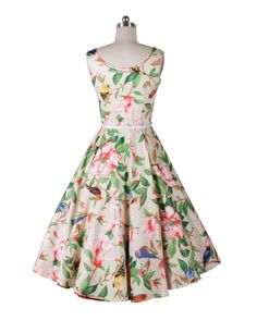 Babyonline Vintage 1950's Audrey Hepburn Style Floral Rockabilly Picnic Party Prom Dress