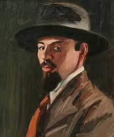 Clifford Hall, Self Portrait. Probably the first of at least 7 self-portraits the artist created; dashed off with an almost facile panache it seems to exude youthful confidence, in stark contrast with 'Myself, in a Bad Mood' painted some 12 years later.