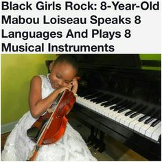 "Black prodigy Mabou Loiseau plays 8 musical instruments and speaks 8 languages. bishopmyles: "" ghettablasta: "" This marvelous Black girl is a genius. She can speak Haitian Creole, Spanish,. Black Girls Rock, Black Girl Magic, Black Art, Art Haïtien, By Any Means Necessary, Black History Facts, Black Pride, We Are The World, My Black Is Beautiful"