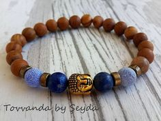 Buddha Bracelet   Wood Gemstone  Bracelet  Wood Jasper by tovvanda