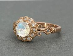 14K Rose Gold Rainbow Moonstone Ring Halo Vintage Sterling Silver Round Rainbow Moonstone Simulated Diamond Wedding Promise Engagement Ring by SimplySilvery on Etsy