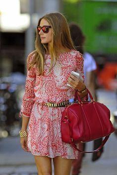 Olivia Palermo Style 2013 Gold Bracelet Pink Paisley Dress Sofia Coppola Louis Vuitton Bag-01