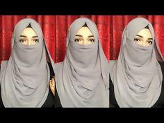 Easy and Comfy Niqab style with Chiffon Hijab Niqab Fashion, Modern Hijab Fashion, Hijab Fashion Inspiration, Muslim Fashion, Simple Hijab Tutorial, Hijab Style Tutorial, Burka Style, Niqab Style, Hijab Niqab