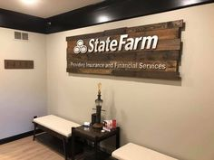 Office Setup, Office Organization, Office Ideas, State Farm Office, Decor Interior Design, Interior Decorating, State Farm Insurance, Business Office Decor, Personalized Wooden Signs