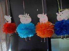 Peppa Pig pom poms made by me