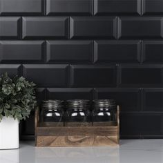 Black Subway Tiles, Black Tiles, Black Backsplash, Kitchen Backsplash, Ceramic Wall Tiles, Black Kitchens, Dream Kitchens, Kitchen Remodel, Crown Heights
