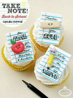 Start the year off WRITE with these Back to School cupcake toppers sure to make a sweet impression on any teacher! Teacher Cupcakes, School Cupcakes, School Cake, School Treats, School Snacks, Valentine Cupcakes, School School, School Gifts, Fondant Cupcakes
