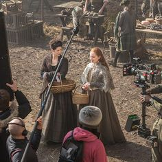 Caitriona Balfe and Lotte Verbeek on the set of Outlande