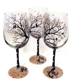 Bird Hand Painted Wine Glasses Tree Branches by LKCustomCreations