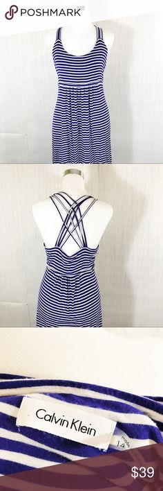 Calvin Klein | Strappy Back Maxi Dress Gorgeous Maxi Dress in excellent like new condition! | Super soft and stretchy! Floor length Maxi Dress | Women's size 14 | Blue/Purple Colored stripes Calvin Klein Dresses Maxi
