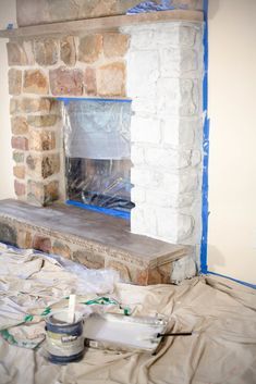 New Photo painted Stone Fireplace Style Stacked stone fireplaces are undeniably gorgeous and can turn what would otherwise be a plain, borin Whitewash Stone Fireplace, White Wash Fireplace, Stone Fireplace Makeover, Fireplace Update, Paint Fireplace, Home Fireplace, Fireplace Remodel, Fireplace Design, Fireplace Mantels