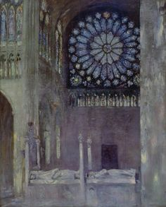 The Interior of the Abbey Church of Saint Denis, about 1891, Paul César Helleu, French, 1859–1927, Oil on canvas, 194 x 155 cm